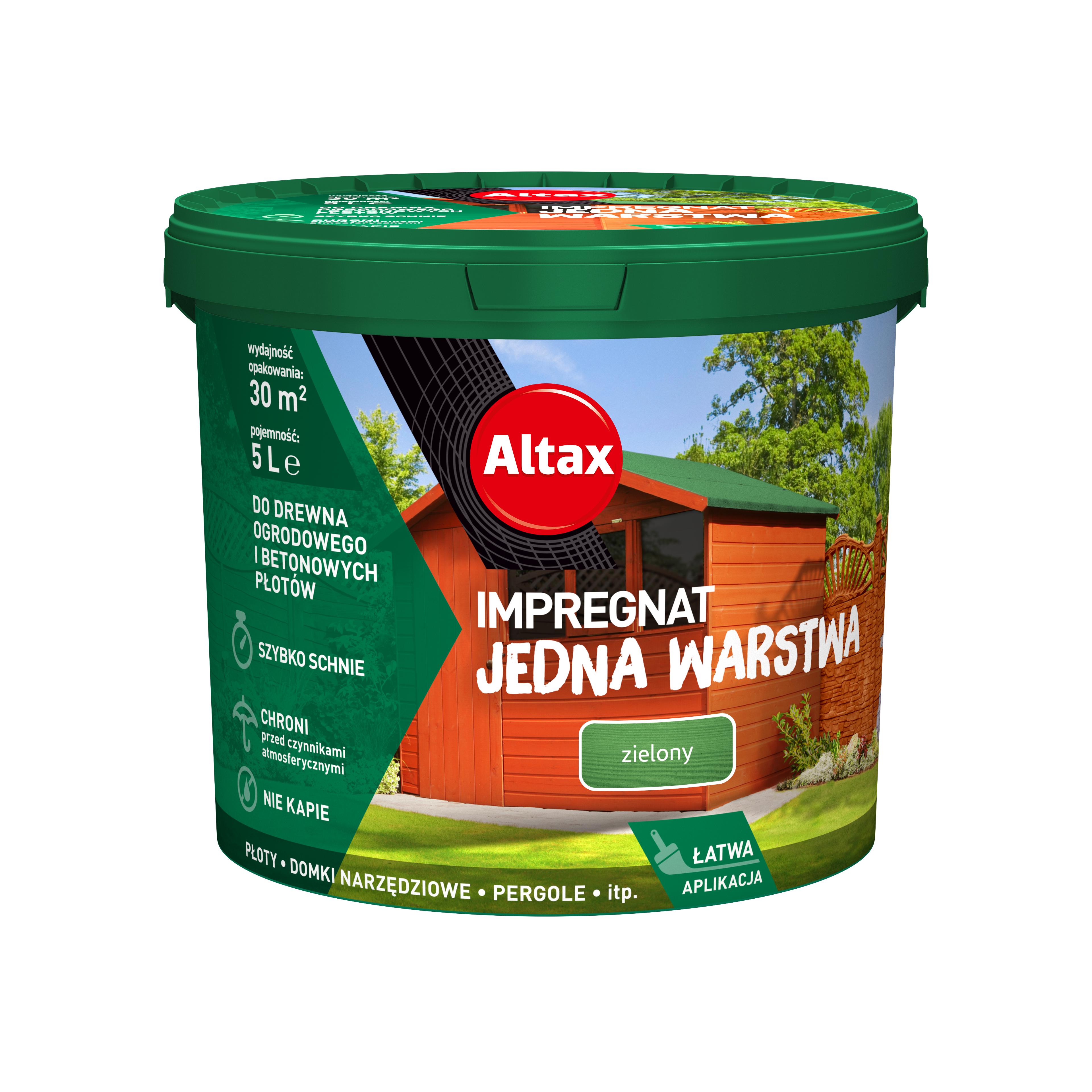 Altax Impregnat Do Drewna Ogrodowego Jedna Warstwa 5 L Zielony
