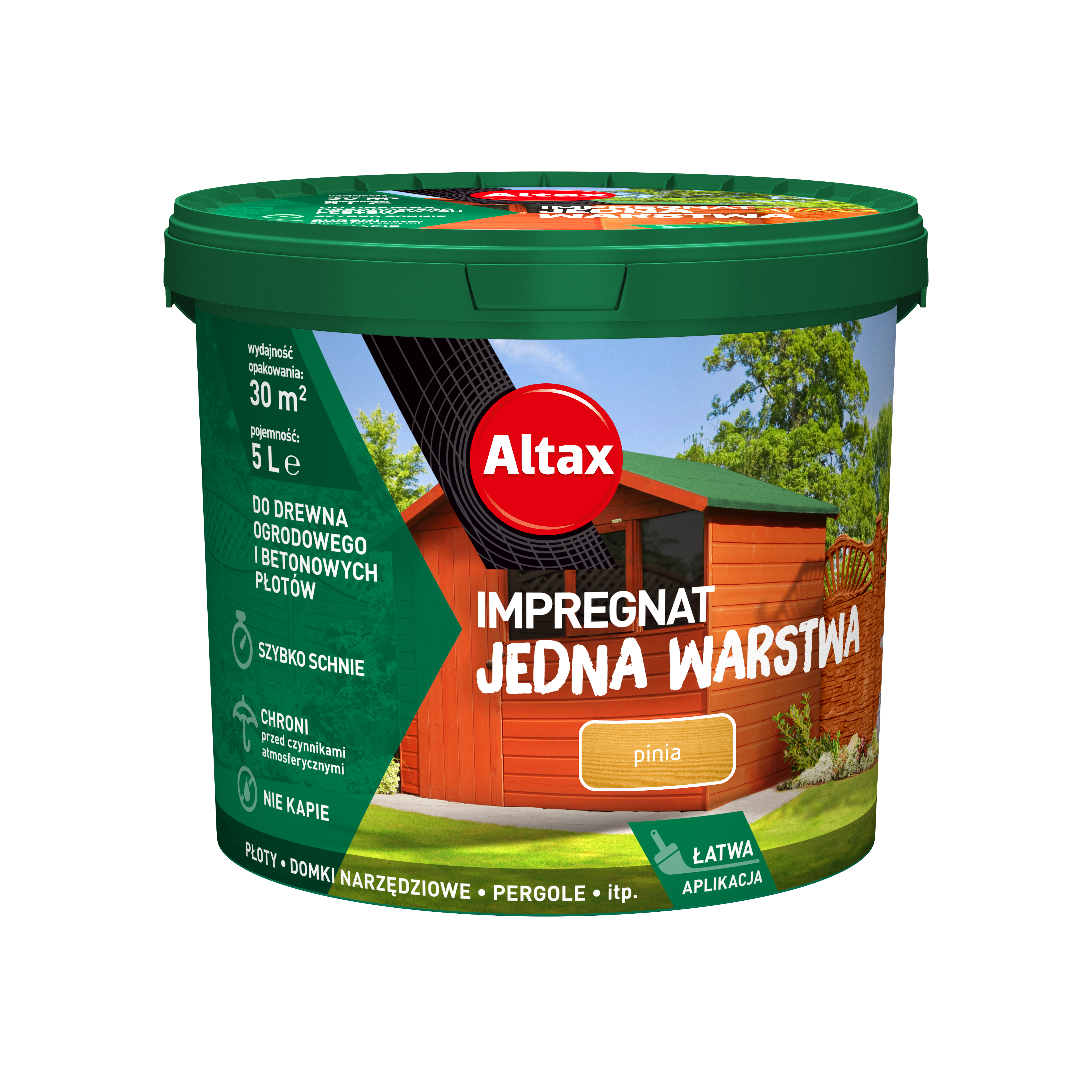Altax Impregnat Do Drewna Ogrodowego Jedna Warstwa 5 L Pinia