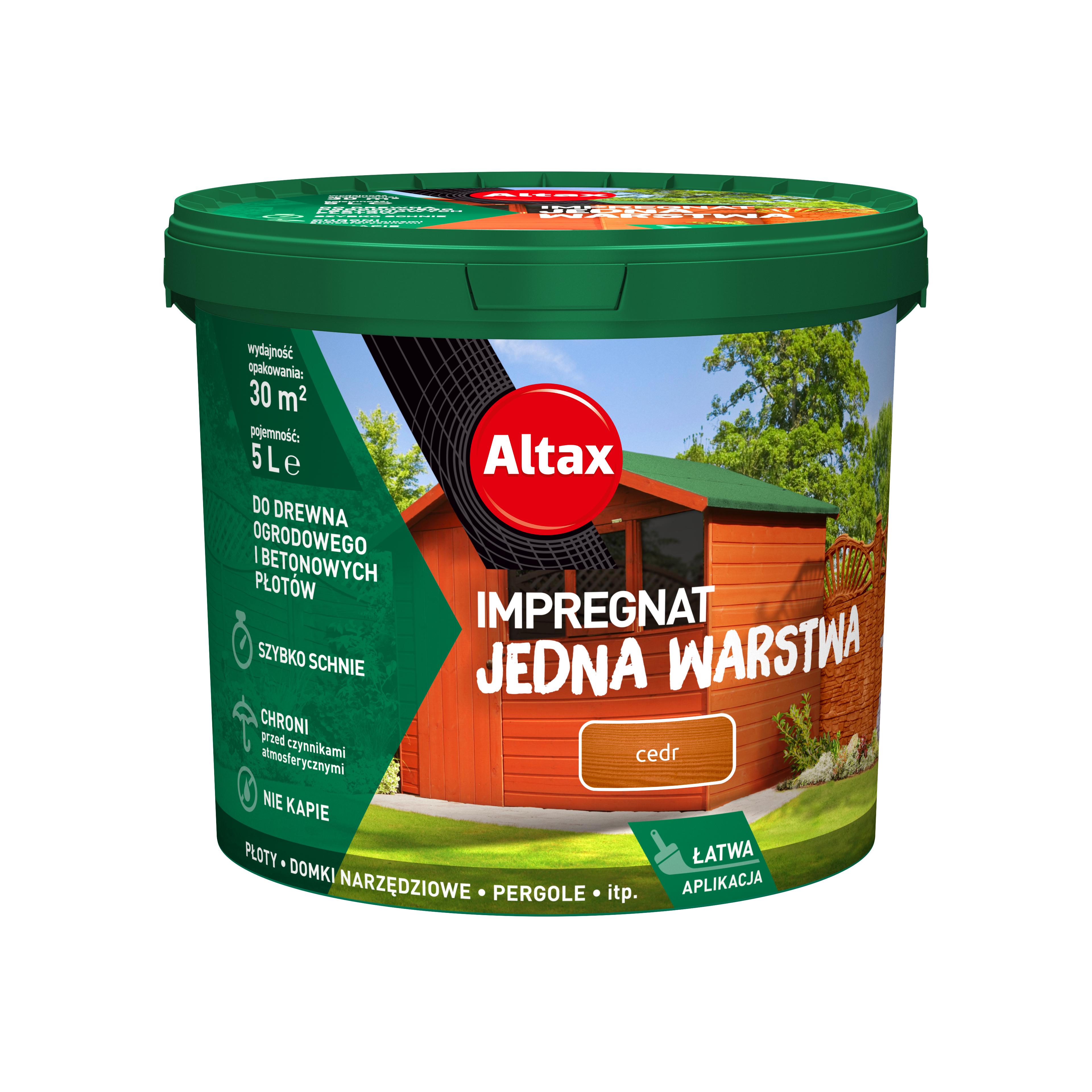 Altax Impregnat Do Drewna Ogrodowego Jedna Warstwa 5 L Cedr