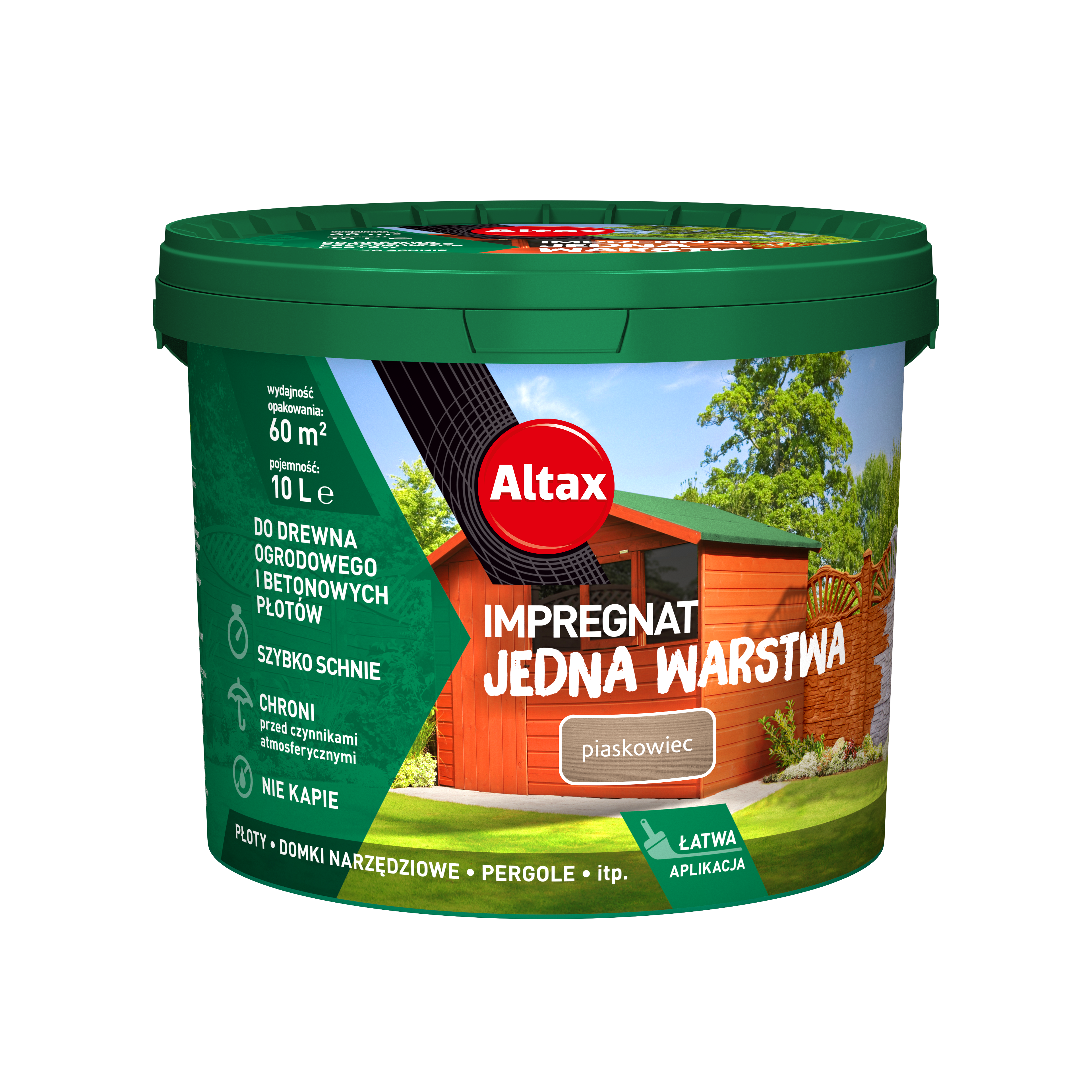 Altax Impregnat Do Drewna Ogrodowego Jedna Warstwa 10L Piaskowiec