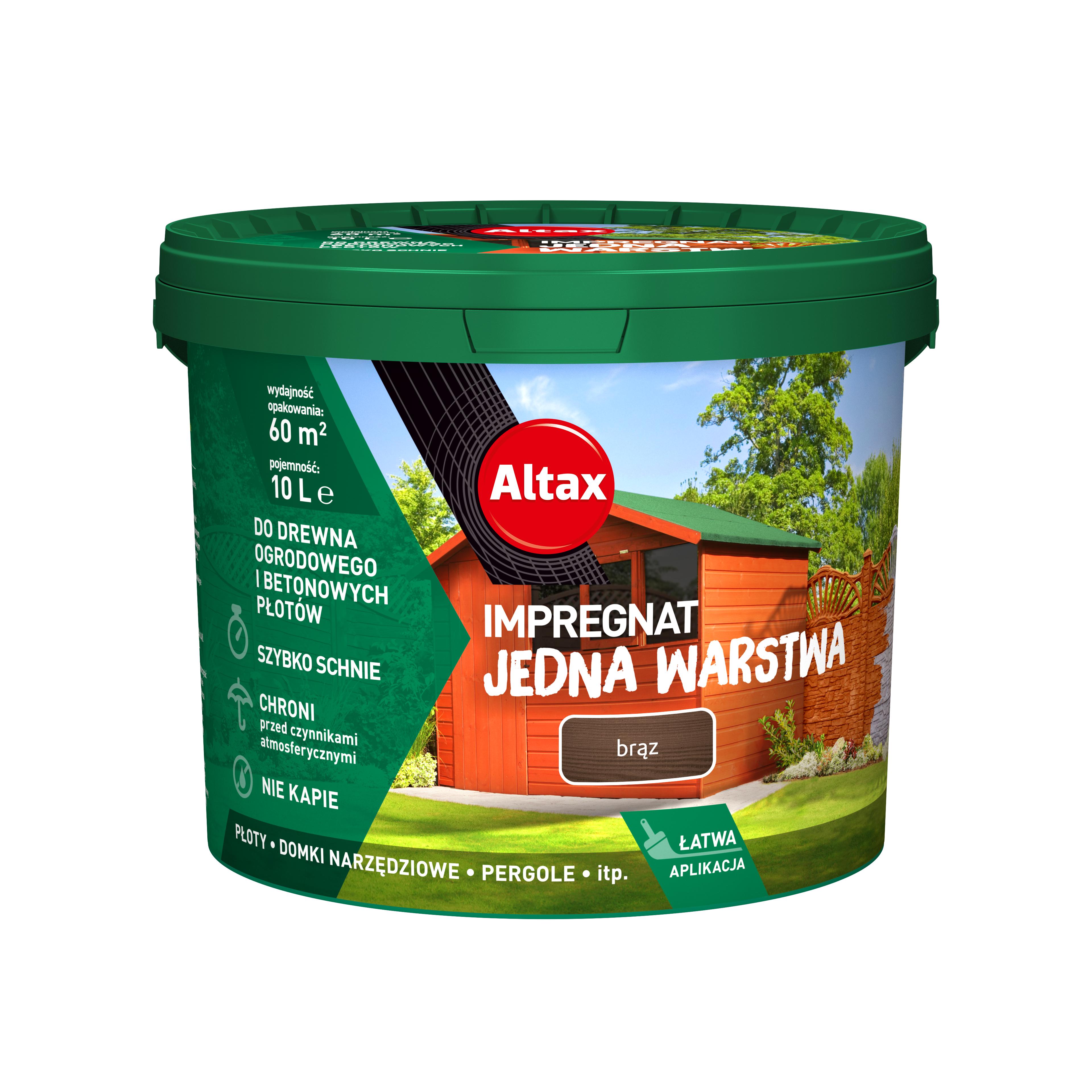 Altax Impregnat Do Drewna Ogrodowego Jedna Warstwa 10L Brąz