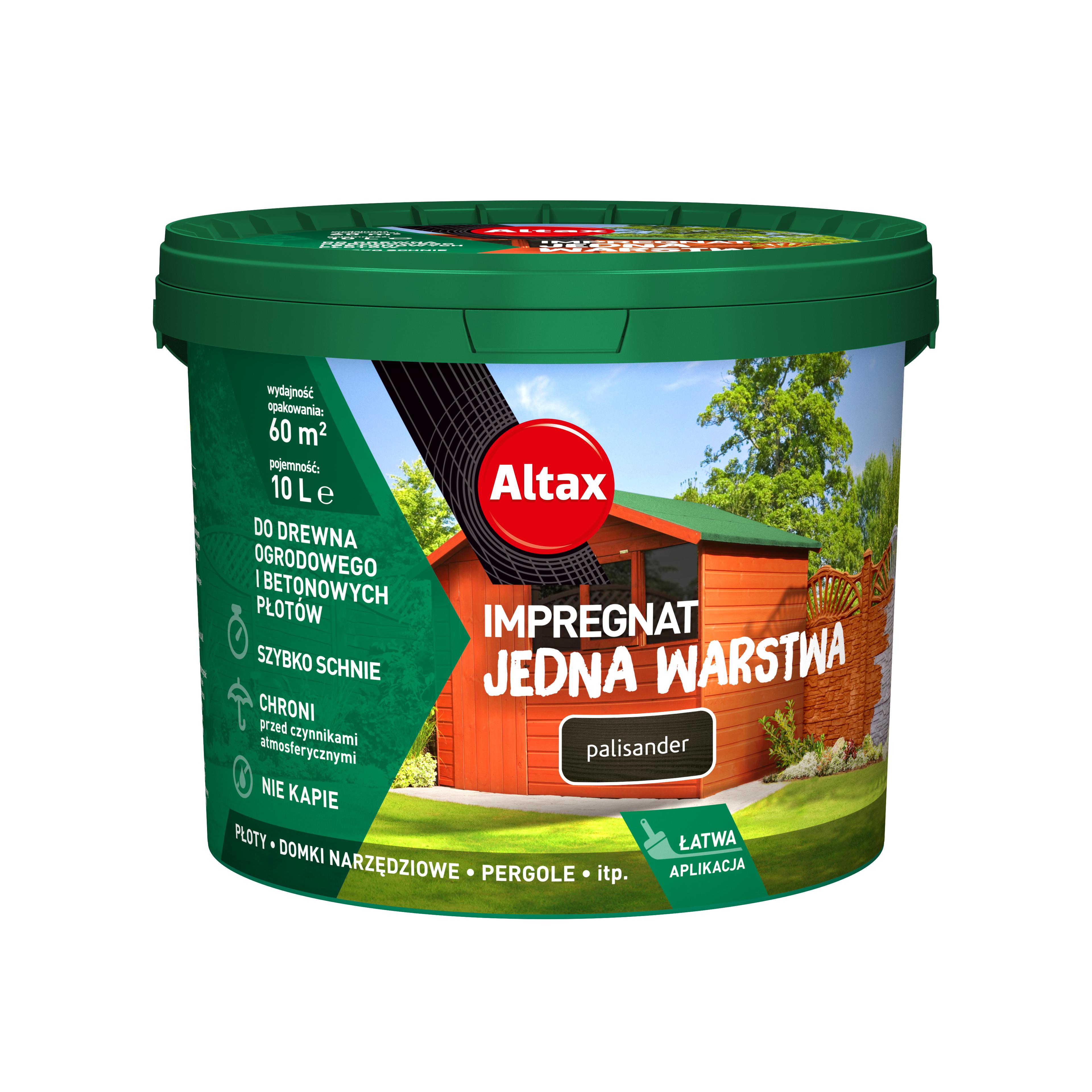 Altax Impregnat Do Drewna Ogrodowego Jedna Warstwa 10L Palisander