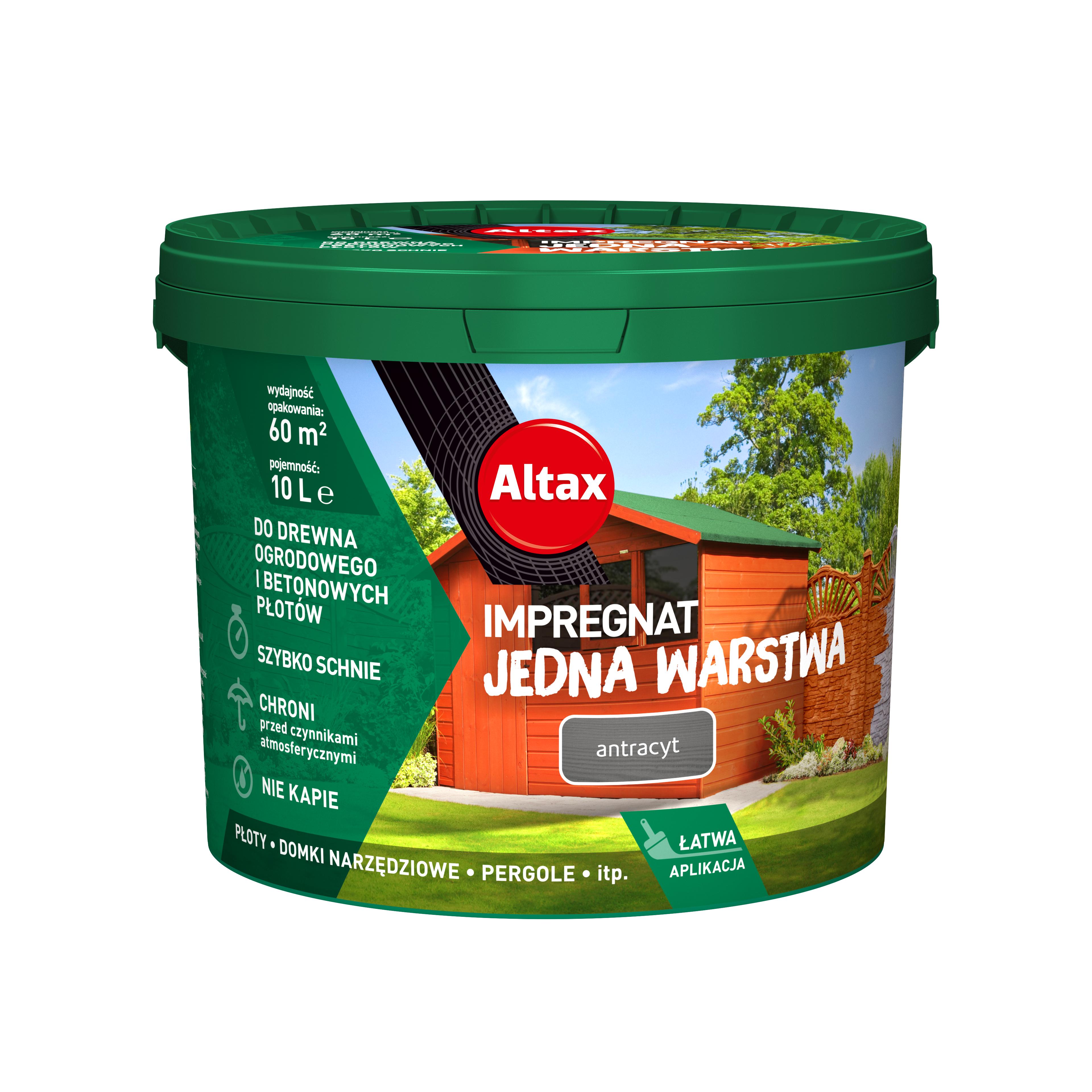 Altax Impregnat Do Drewna Ogrodowego Jedna Warstwa 10L Antracyt