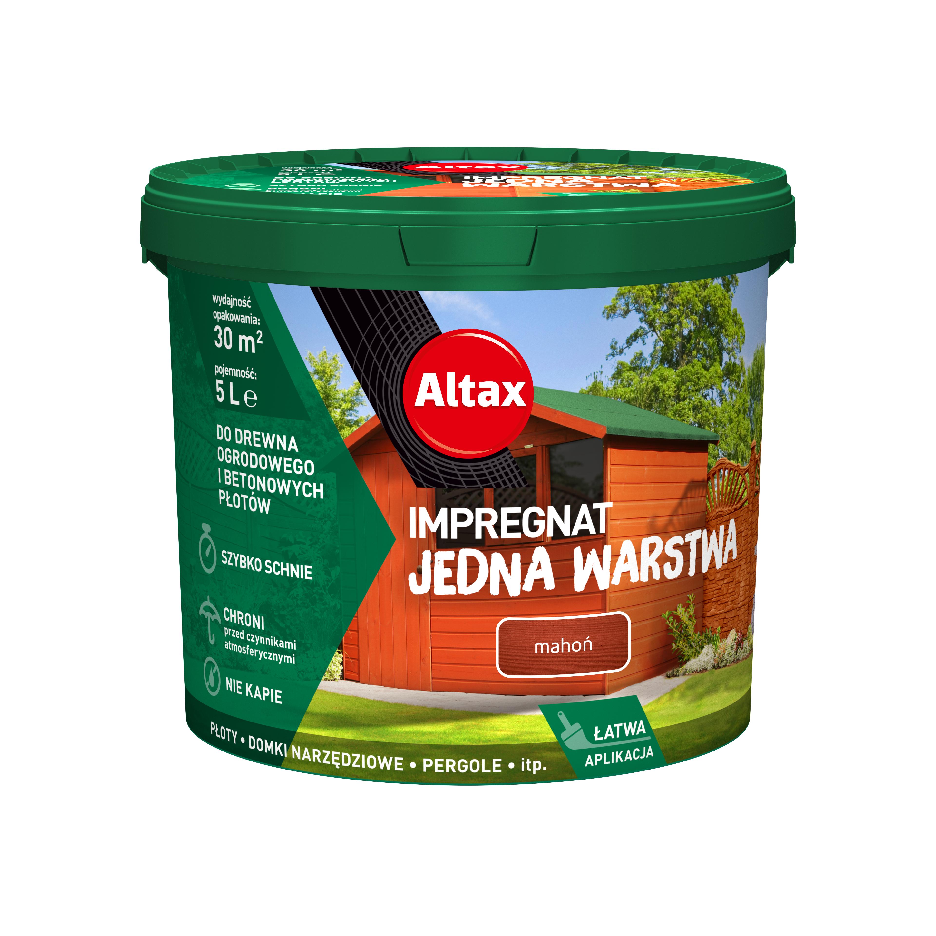 Altax Impregnat 5L Do Drewna Ogrodowego Jedna Warstwa Mahoń