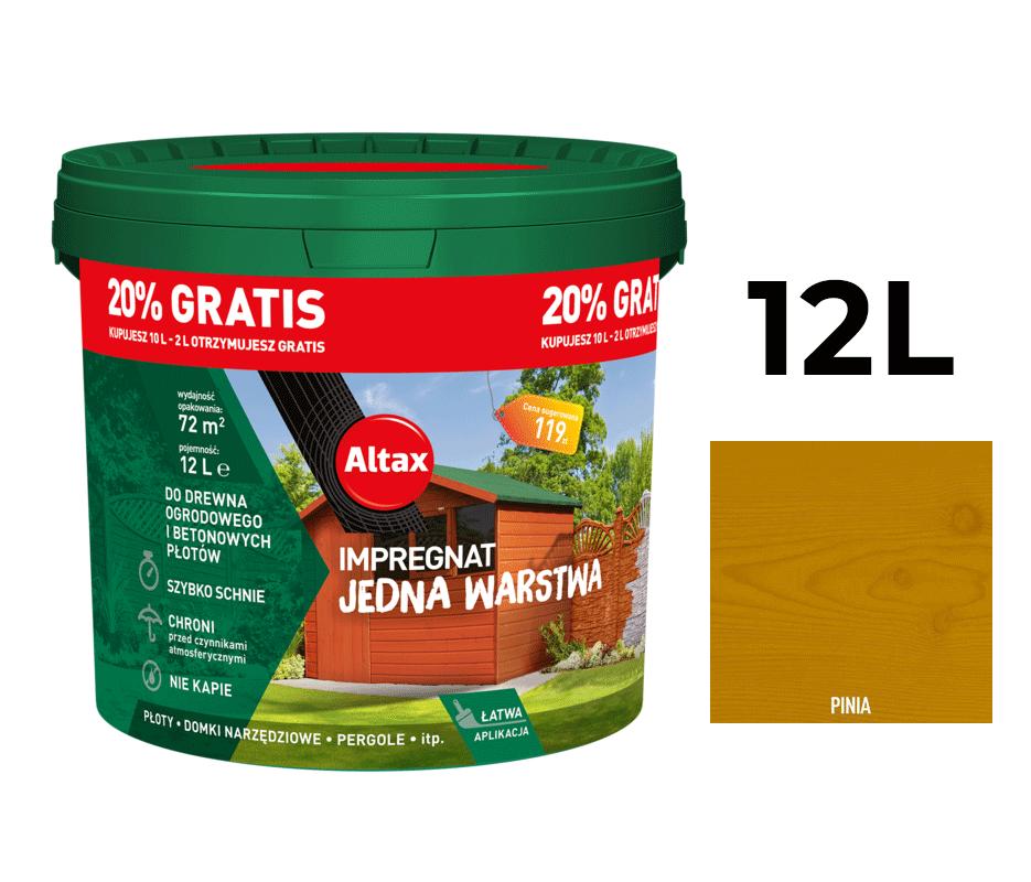 Altax Impregnat Do Drewna Ogrodowego Jedna Warstwa 12L Pinia