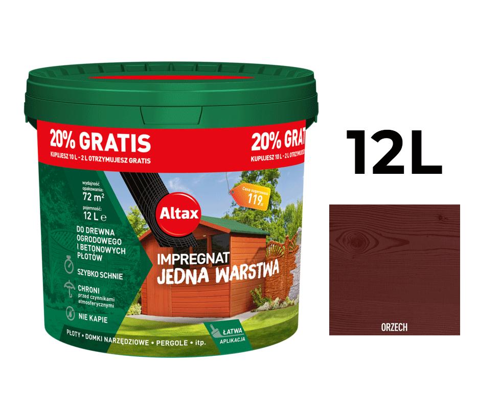 Altax Impregnat Do Drewna Ogrodowego Jedna Warstwa 12L Orzech