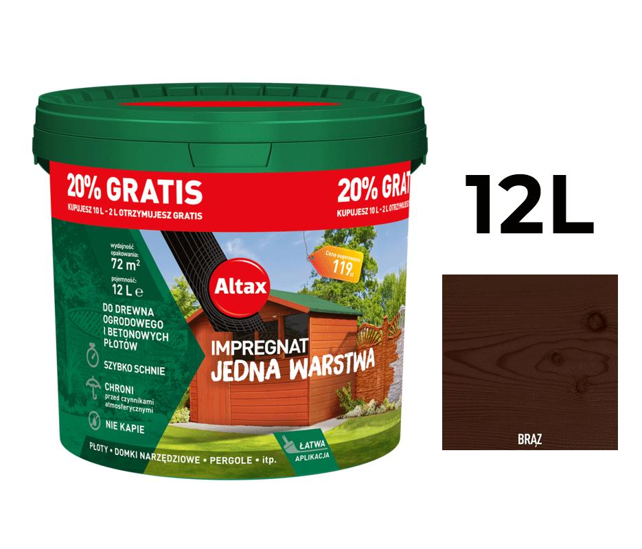 Altax Impregnat Do Drewna Ogrodowego Jedna Warstwa 12L Brąz