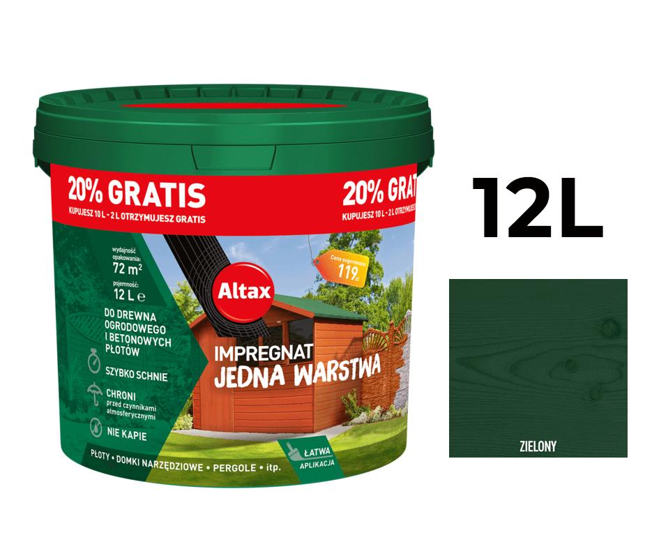 Altax Impregnat Do Drewna Ogrodowego Jedna Warstwa 12L Zielony