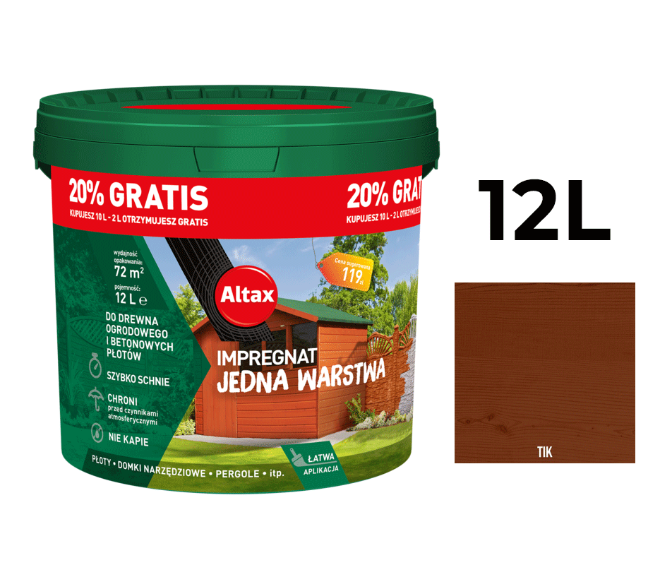 Altax Impregnat Do Drewna Ogrodowego Jedna Warstwa 12L Tik