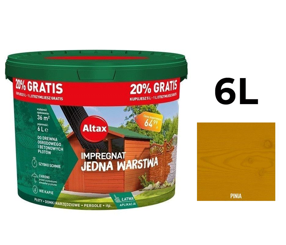 Altax Impregnat Do Drewna Ogrodowego Jedna Warstwa 6L Pinia