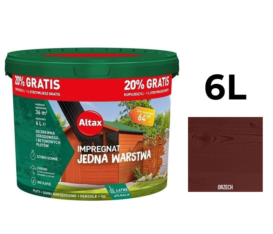 Altax Impregnat Do Drewna Ogrodowego Jedna Warstwa 6L Brąz