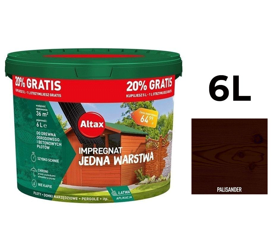 Altax Impregnat Do Drewna Ogrodowego Jedna Warstwa 6L Palisander