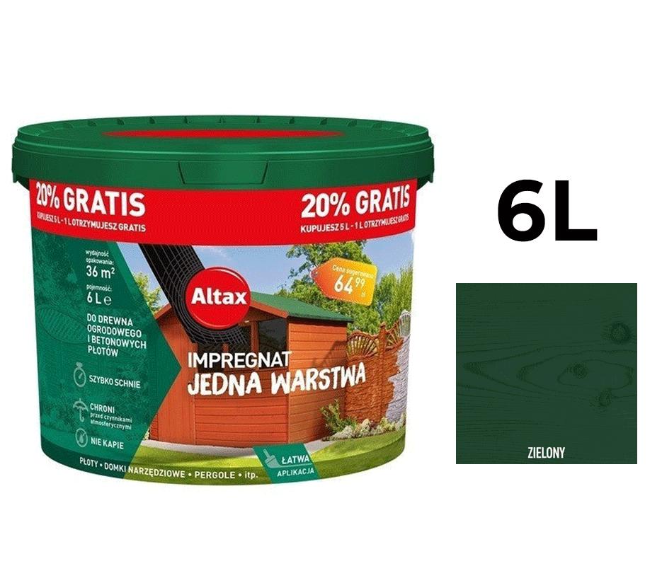 Altax Impregnat Do Drewna Ogrodowego Jedna Warstwa 6L Zielony