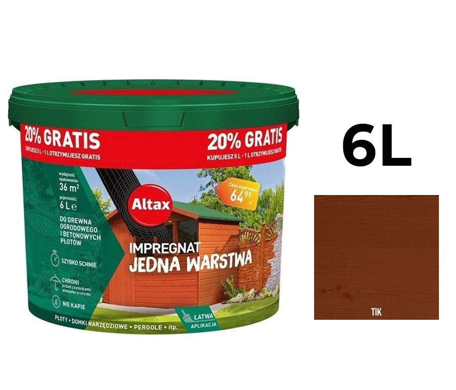 Altax Impregnat Do Drewna Ogrodowego Jedna Warstwa 6L Tik